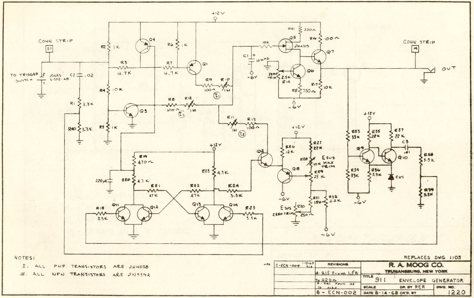 Moog Archives Envelope Schematic